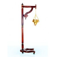 SHIRODHARA STAND- WOODEN with decorative White Bronze Vessel